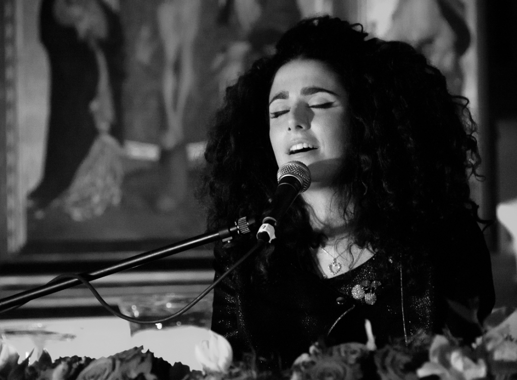Sophie Delilia singing at St Pancras Old Church, London